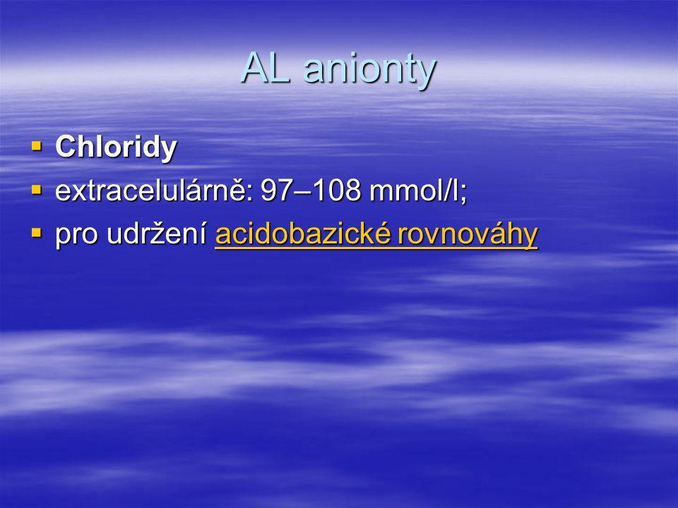 AL anionty  Chloridy  extracelulárně: 97–108 mmol/l;  pro udržení acidobazické rovnováhy acidobazické rovnováhyacidobazické rovnováhy