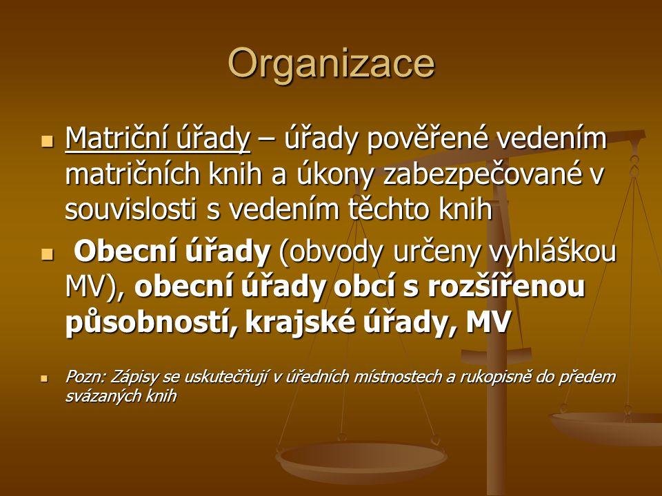Organizace Matriční úřady – úřady pověřené vedením matričních knih a úkony zabezpečované v souvislosti s vedením těchto knih Matriční úřady – úřady po