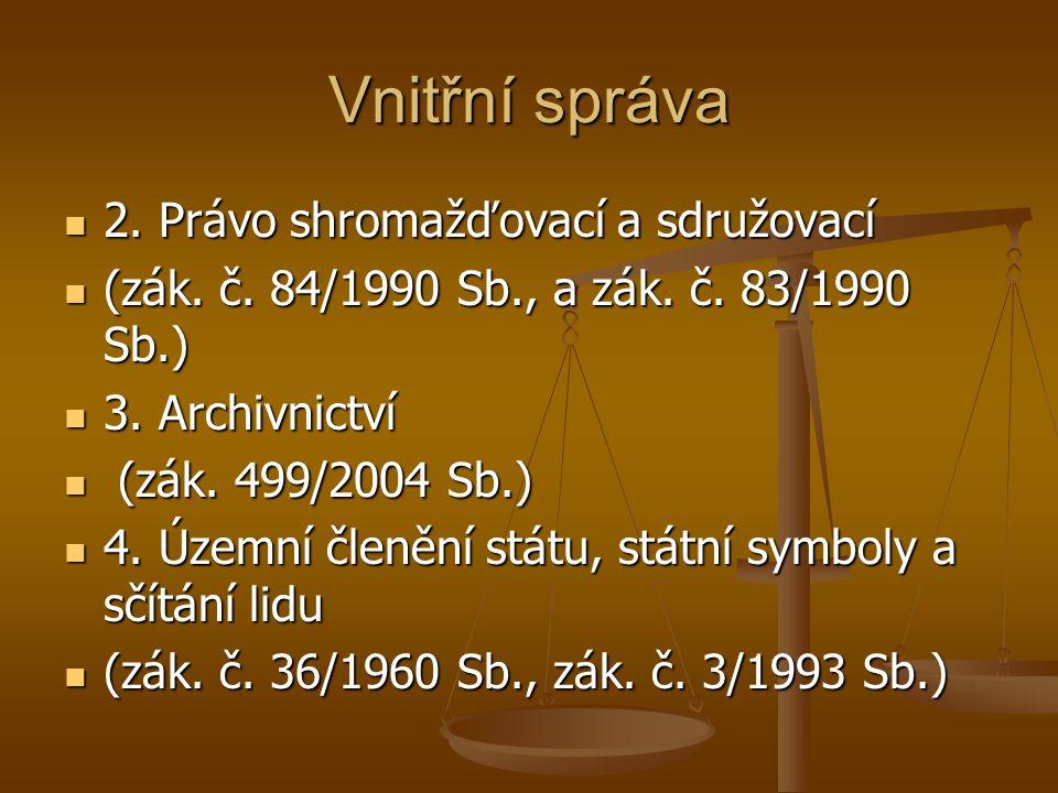 Vnitřní správa 2. Právo shromažďovací a sdružovací 2. Právo shromažďovací a sdružovací (zák. č. 84/1990 Sb., a zák. č. 83/1990 Sb.) (zák. č. 84/1990 S
