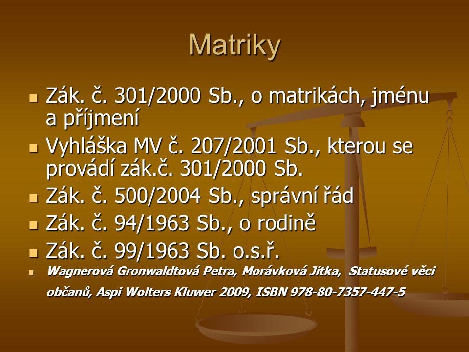 Matriky Zák. č. 301/2000 Sb., o matrikách, jménu a příjmení Zák. č. 301/2000 Sb., o matrikách, jménu a příjmení Vyhláška MV č. 207/2001 Sb., kterou se
