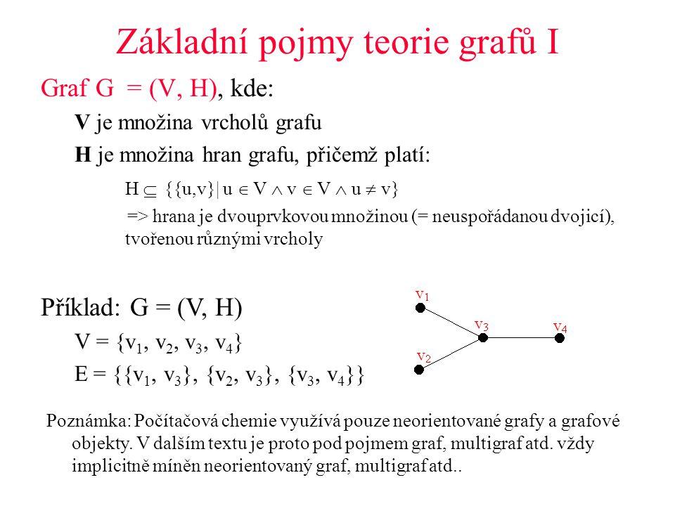 Základní pojmy teorie grafů I Graf G = (V, H), kde: V je množina vrcholů grafu H je množina hran grafu, přičemž platí: H  {{u,v}| u  V  v  V  u  v} => hrana je dvouprvkovou množinou (= neuspořádanou dvojicí), tvořenou různými vrcholy Příklad: G = (V, H) V = {v 1, v 2, v 3, v 4 } E = {{v 1, v 3 }, {v 2, v 3 }, {v 3, v 4 }} Poznámka: Počítačová chemie využívá pouze neorientované grafy a grafové objekty.