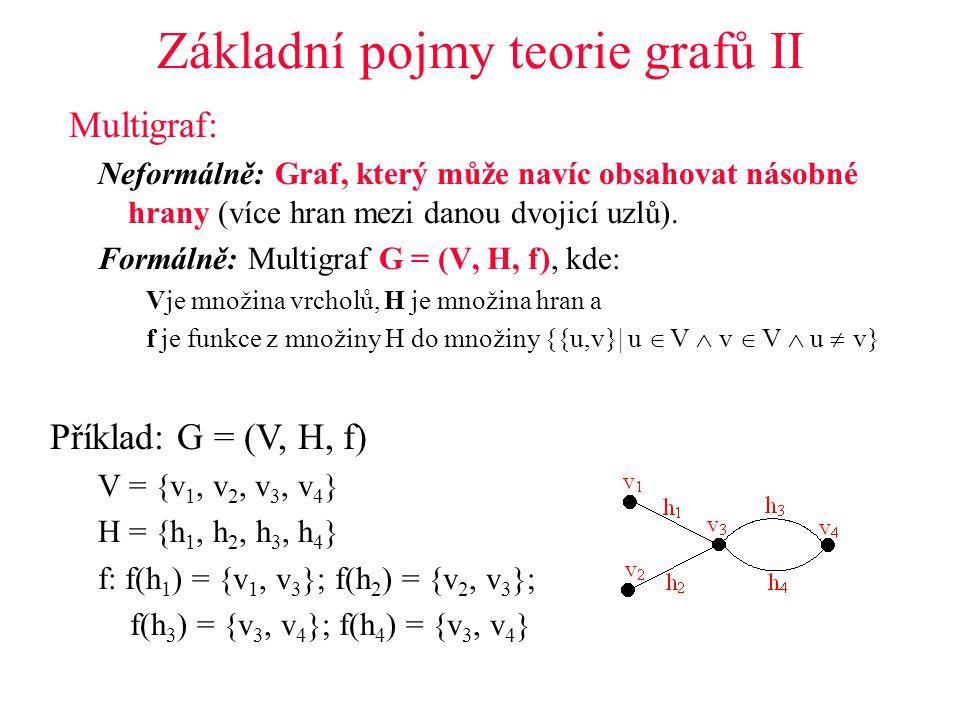 Základní pojmy teorie grafů II Multigraf: Neformálně: Graf, který může navíc obsahovat násobné hrany (více hran mezi danou dvojicí uzlů).