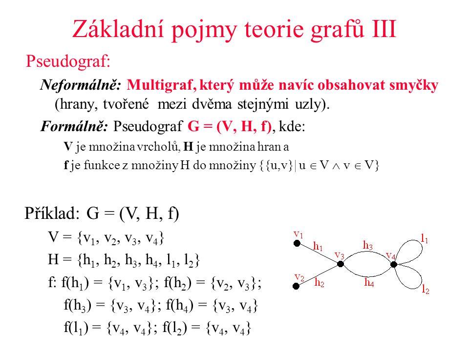 Základní pojmy teorie grafů III Pseudograf: Neformálně: Multigraf, který může navíc obsahovat smyčky (hrany, tvořené mezi dvěma stejnými uzly).