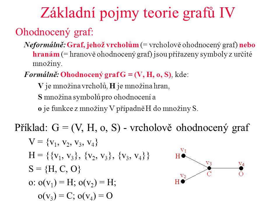 Základní pojmy teorie grafů IV Ohodnocený graf: Neformálně: Graf, jehož vrcholům (= vrcholově ohodnocený graf) nebo hranám (= hranově ohodnocený graf) jsou přiřazeny symboly z určité množiny.