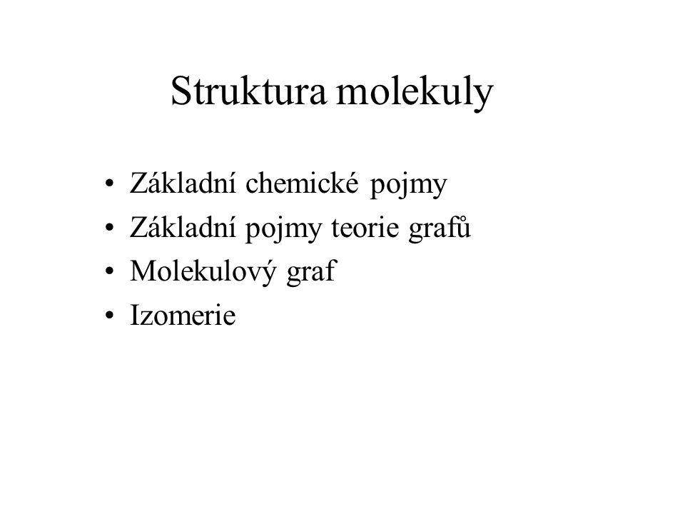 Struktura molekuly Základní chemické pojmy Základní pojmy teorie grafů Molekulový graf Izomerie