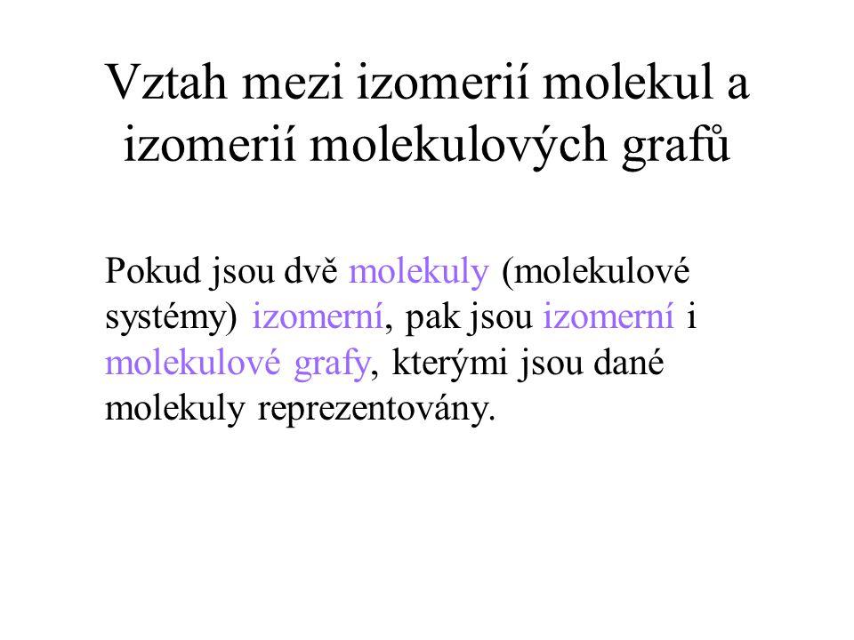 Vztah mezi izomerií molekul a izomerií molekulových grafů Pokud jsou dvě molekuly (molekulové systémy) izomerní, pak jsou izomerní i molekulové grafy, kterými jsou dané molekuly reprezentovány.