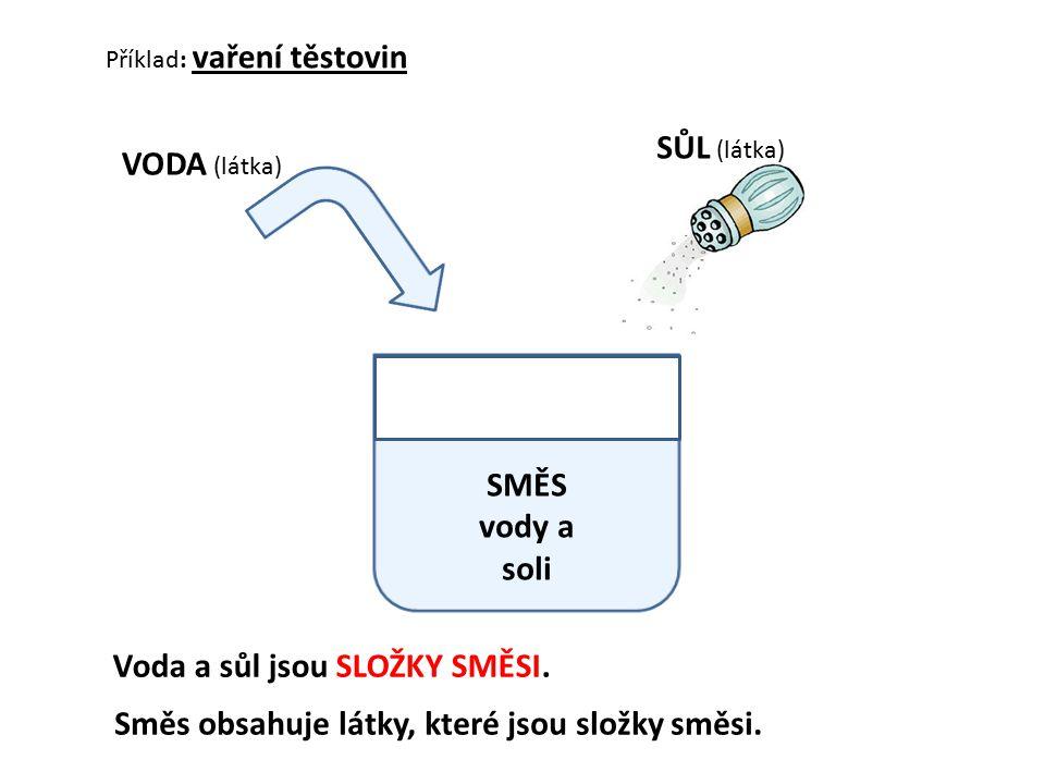 Příklad: vaření těstovin VODA (látka) SŮL (látka) Voda a sůl jsou SLOŽKY SMĚSI. SMĚS vody a soli Směs obsahuje látky, které jsou složky směsi.