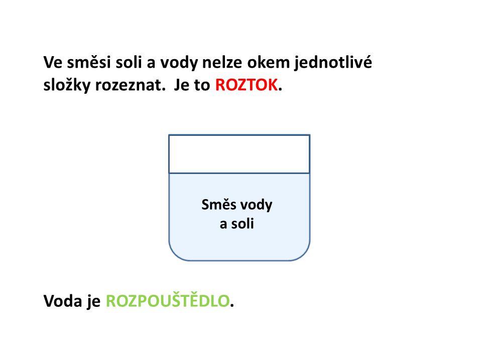 Směs vody a soli Ve směsi soli a vody nelze okem jednotlivé složky rozeznat.