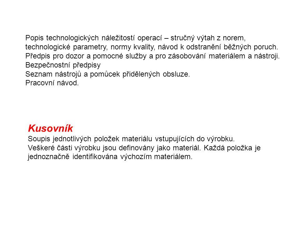 Popis technologických náležitostí operací – stručný výtah z norem, technologické parametry, normy kvality, návod k odstranění běžných poruch. Předpis
