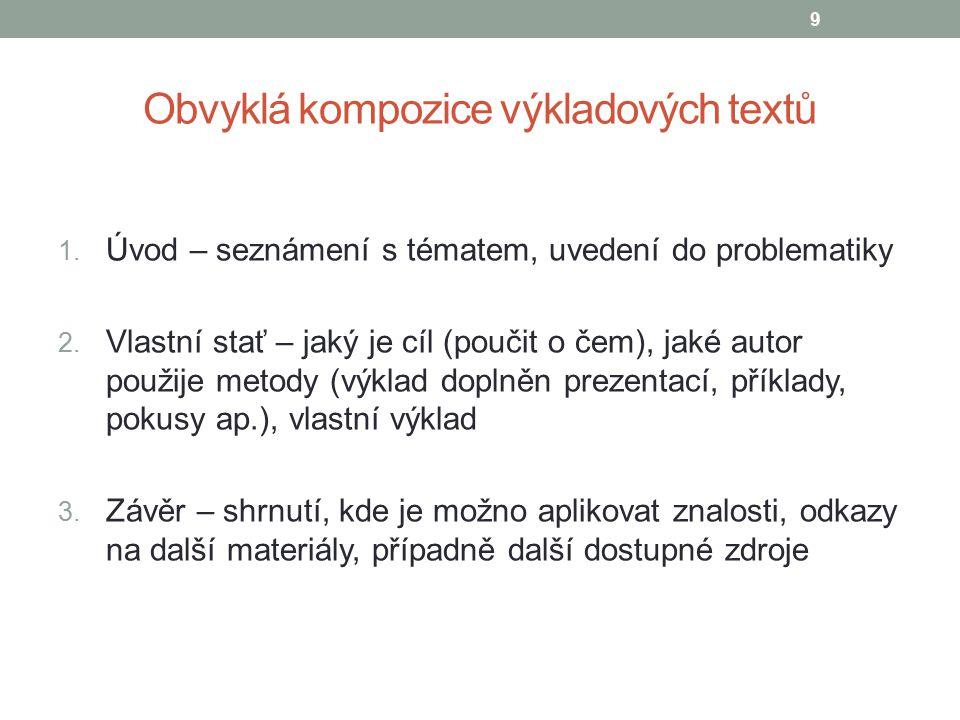 Obvyklá kompozice výkladových textů 1. Úvod – seznámení s tématem, uvedení do problematiky 2. Vlastní stať – jaký je cíl (poučit o čem), jaké autor po