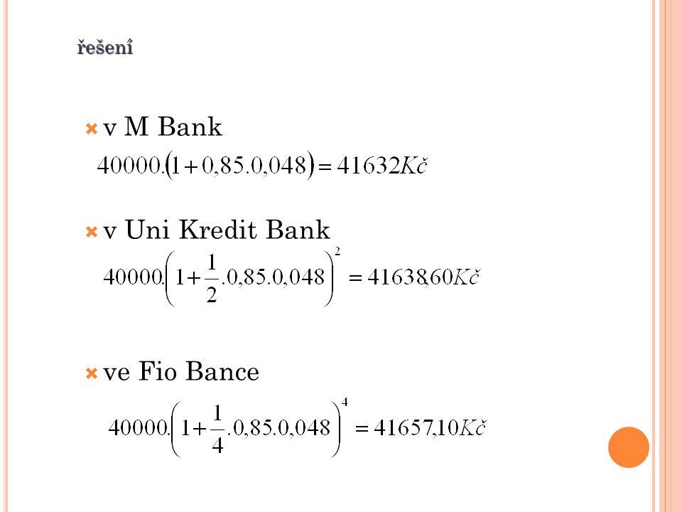 řešení  v M Bank  v Uni Kredit Bank  ve Fio Bance