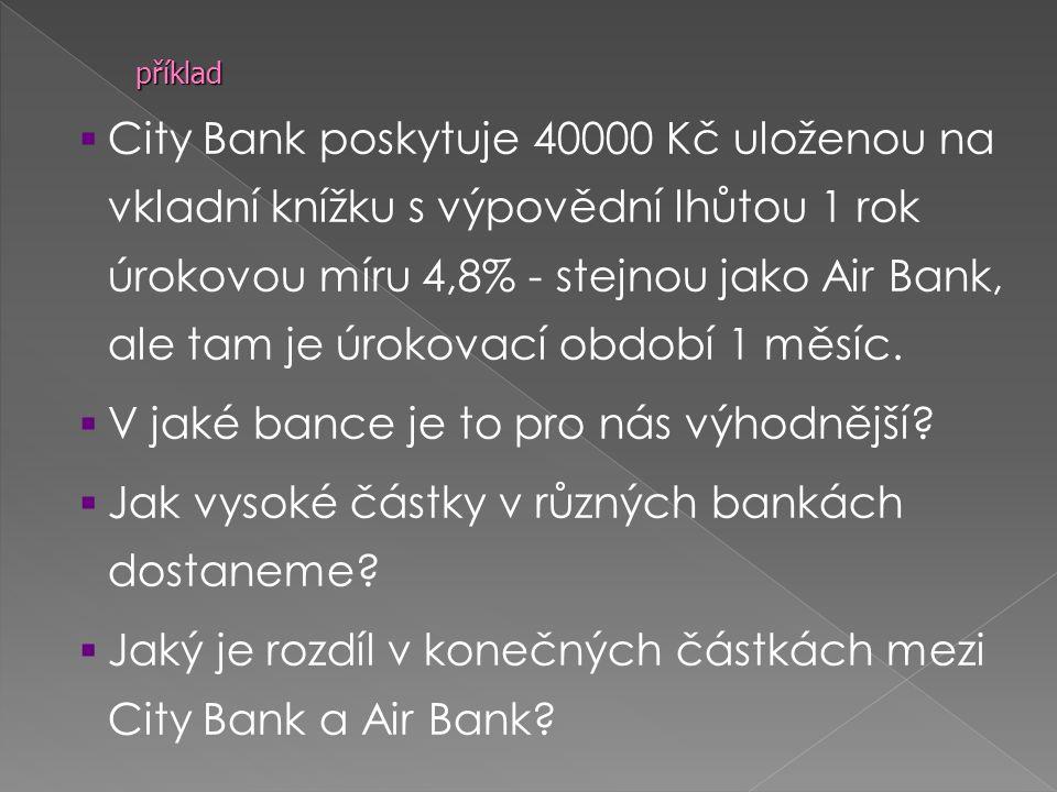  City Bank poskytuje 40000 Kč uloženou na vkladní knížku s výpovědní lhůtou 1 rok úrokovou míru 4,8% - stejnou jako Air Bank, ale tam je úrokovací období 1 měsíc.