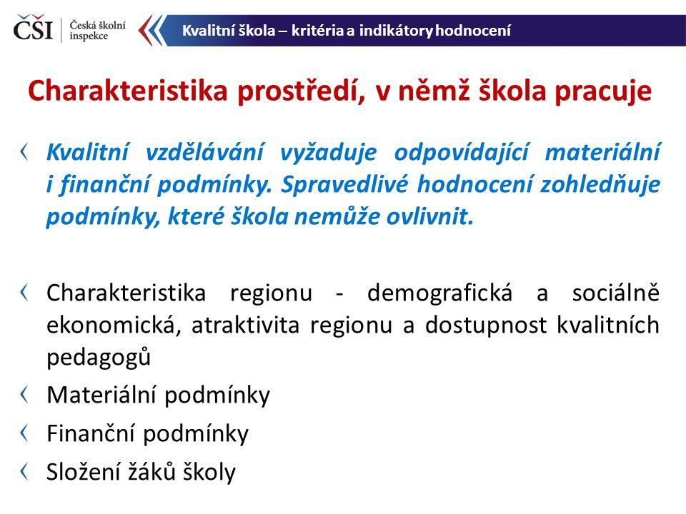 Informace o prostředí, v němž škola pracuje, a umožnění srovnání se statistickými charakteristikami stejných indikátorů v celém souboru škol v ČR.