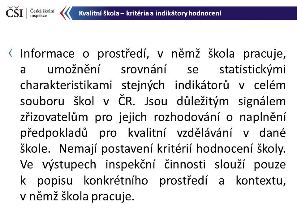 Informace o prostředí, v němž škola pracuje, a umožnění srovnání se statistickými charakteristikami stejných indikátorů v celém souboru škol v ČR. Jso
