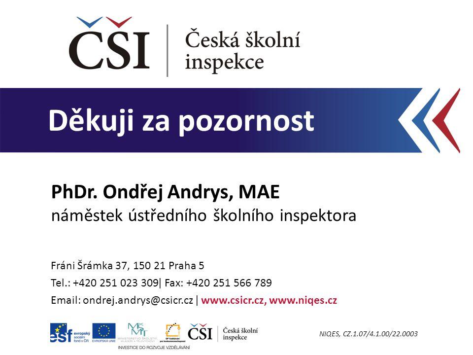 Děkuji za pozornost Fráni Šrámka 37, 150 21 Praha 5 Tel.: +420 251 023 309ǀ Fax: +420 251 566 789 Email: ondrej.andrys@csicr.cz ǀ www.csicr.cz, www.ni