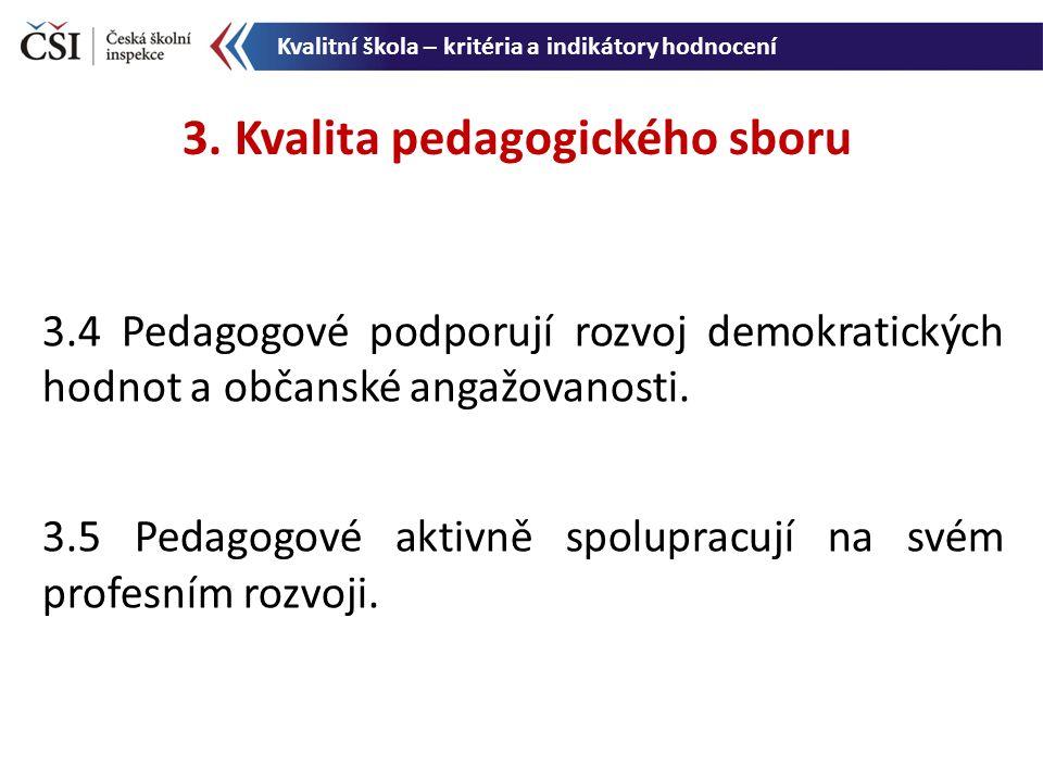 3.4 Pedagogové podporují rozvoj demokratických hodnot a občanské angažovanosti. 3.5 Pedagogové aktivně spolupracují na svém profesním rozvoji. 3. Kval