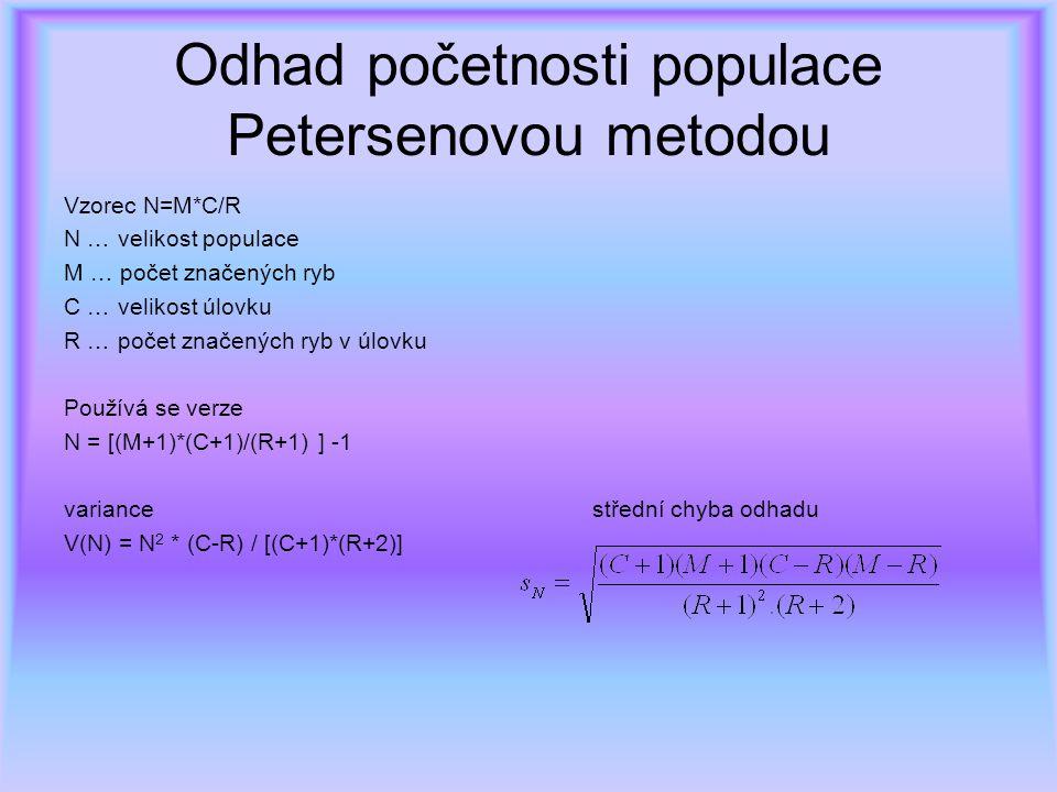 Odhad početnosti populace Petersenovou metodou Vzorec N=M*C/R N … velikost populace M … počet značených ryb C … velikost úlovku R … počet značených ryb v úlovku Používá se verze N = [(M+1)*(C+1)/(R+1) ] -1 variance střední chyba odhadu V(N) = N 2 * (C-R) / [(C+1)*(R+2)]