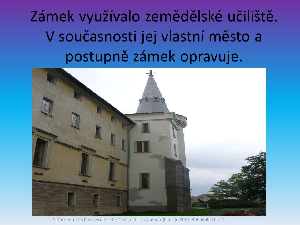 Zámek využívalo zemědělské učiliště. V současnosti jej vlastní město a postupně zámek opravuje.