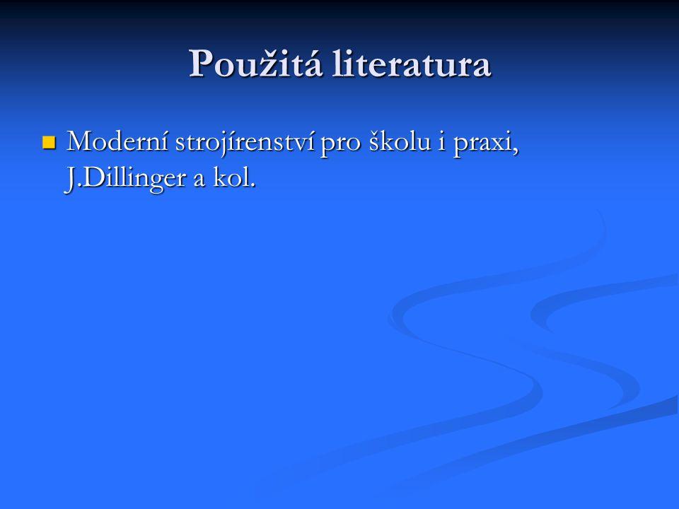 Použitá literatura Moderní strojírenství pro školu i praxi, J.Dillinger a kol. Moderní strojírenství pro školu i praxi, J.Dillinger a kol.