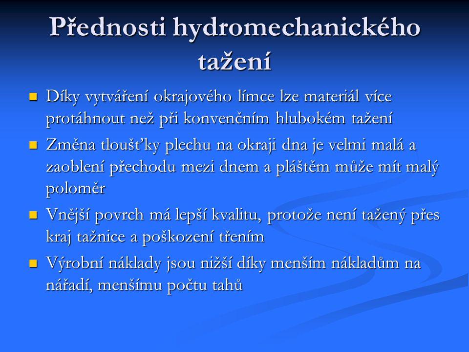 Přednosti hydromechanického tažení Díky vytváření okrajového límce lze materiál více protáhnout než při konvenčním hlubokém tažení Díky vytváření okra