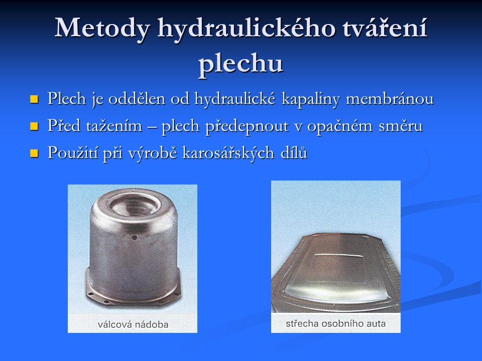 Metody hydraulického tváření plechu Plech je oddělen od hydraulické kapaliny membránou Plech je oddělen od hydraulické kapaliny membránou Před tažením