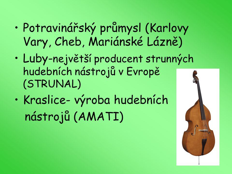 Potravinářský průmysl (Karlovy Vary, Cheb, Mariánské Lázně) Luby- největší producent strunných hudebních nástrojů v Evropě (STRUNAL) Kraslice- výroba