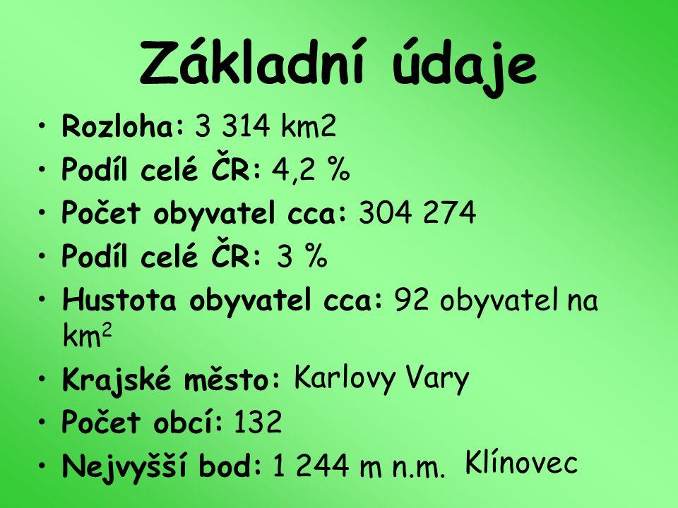 Základní údaje Rozloha: 3 314 km2 Podíl celé ČR: 4,2 % Počet obyvatel cca: 304 274 Podíl celé ČR: 3 % Hustota obyvatel cca: 92 obyvatel na km 2 Krajsk