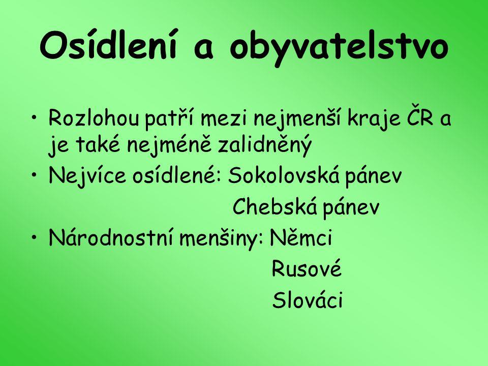 Osídlení a obyvatelstvo Rozlohou patří mezi nejmenší kraje ČR a je také nejméně zalidněný Nejvíce osídlené: Sokolovská pánev Chebská pánev Národnostní