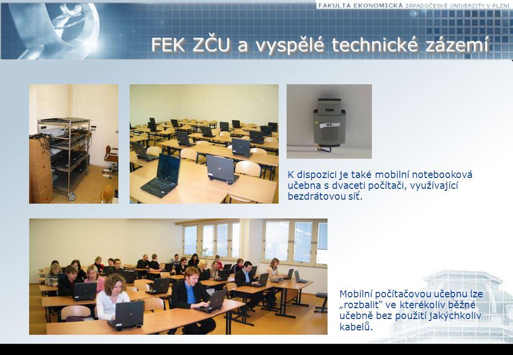 """FEK ZČU a vyspělé technické zázemí Mobilní počítačovou učebnu lze """"rozbalit ve kterékoliv běžné učebně bez použití jakýchkoliv kabelů."""