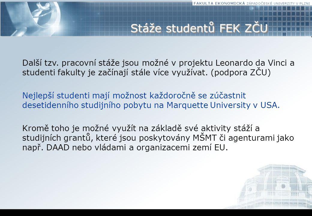 Stáže studentů FEK ZČU Další tzv.