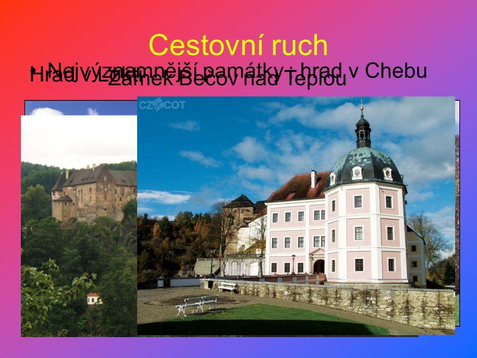 Cestovní ruch Nejvýznamnější památky : hrad v Chebu Hrad v Lokti Zámek Bečov nad Teplou