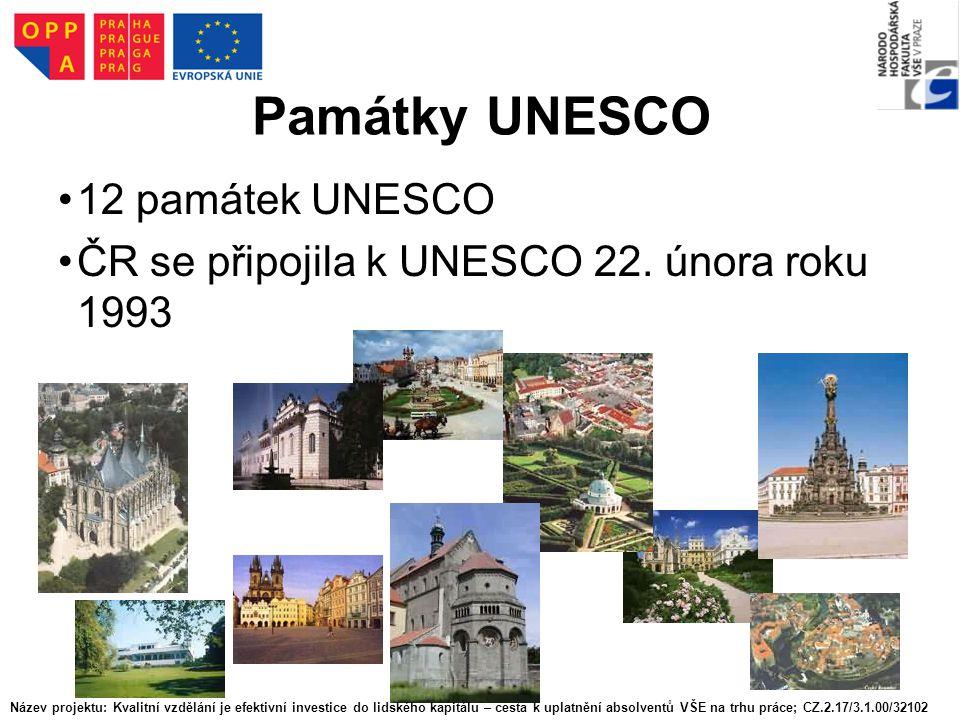 Památky UNESCO 12 památek UNESCO ČR se připojila k UNESCO 22. února roku 1993 Název projektu: Kvalitní vzdělání je efektivní investice do lidského kap