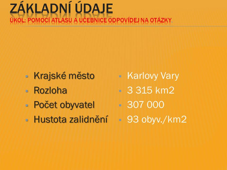  Krajské město  Rozloha  Počet obyvatel  Hustota zalidnění  Karlovy Vary  3 315 km2  307 000  93 obyv./km2