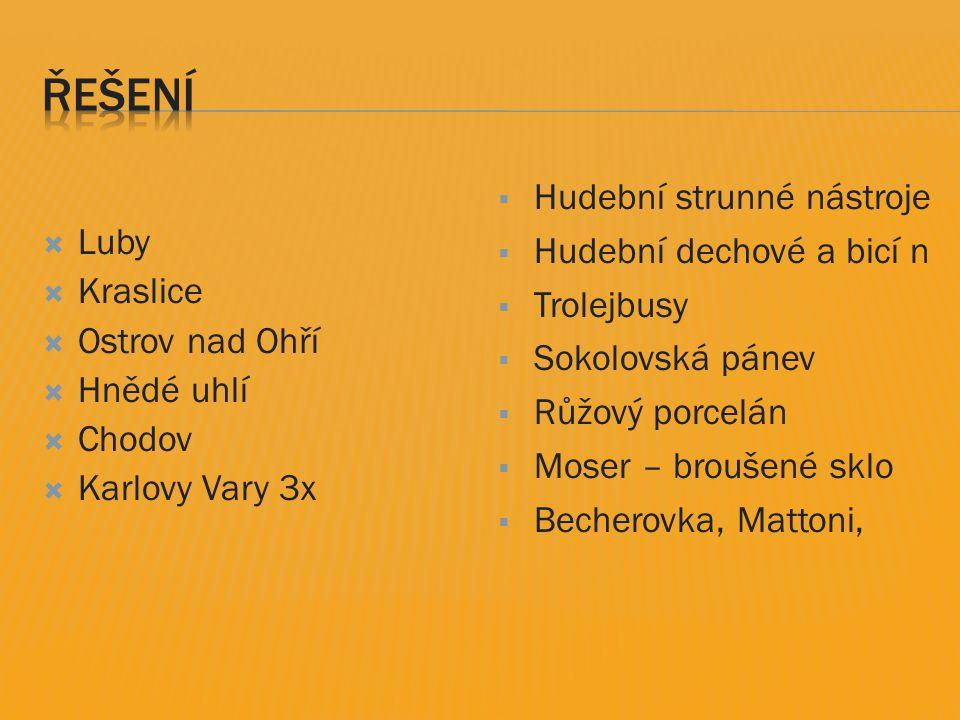  Luby  Kraslice  Ostrov nad Ohří  Hnědé uhlí  Chodov  Karlovy Vary 3x  Hudební strunné nástroje  Hudební dechové a bicí n  Trolejbusy  Sokol
