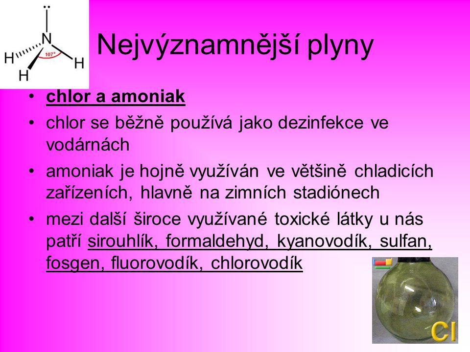 Nejvýznamnější plyny chlor a amoniak chlor se běžně používá jako dezinfekce ve vodárnách amoniak je hojně využíván ve většině chladicích zařízeních, h