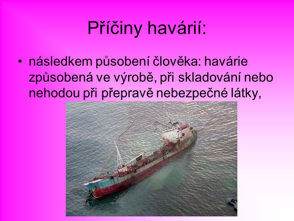 Příčiny havárií: následkem působení člověka: havárie způsobená ve výrobě, při skladování nebo nehodou při přepravě nebezpečné látky,