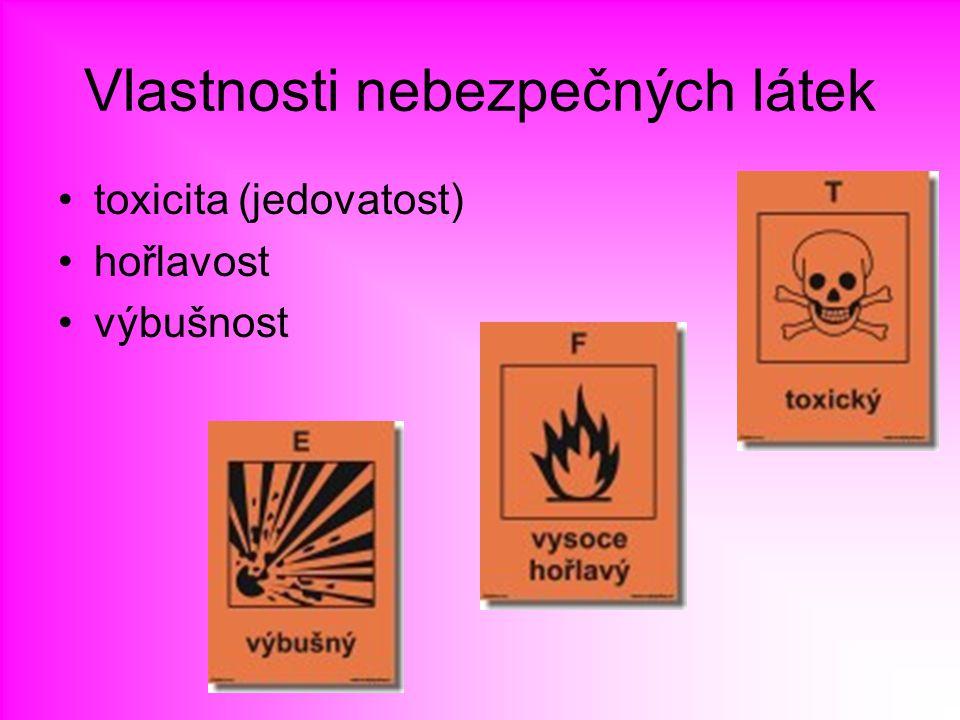 Vlastnosti nebezpečných látek toxicita (jedovatost) hořlavost výbušnost