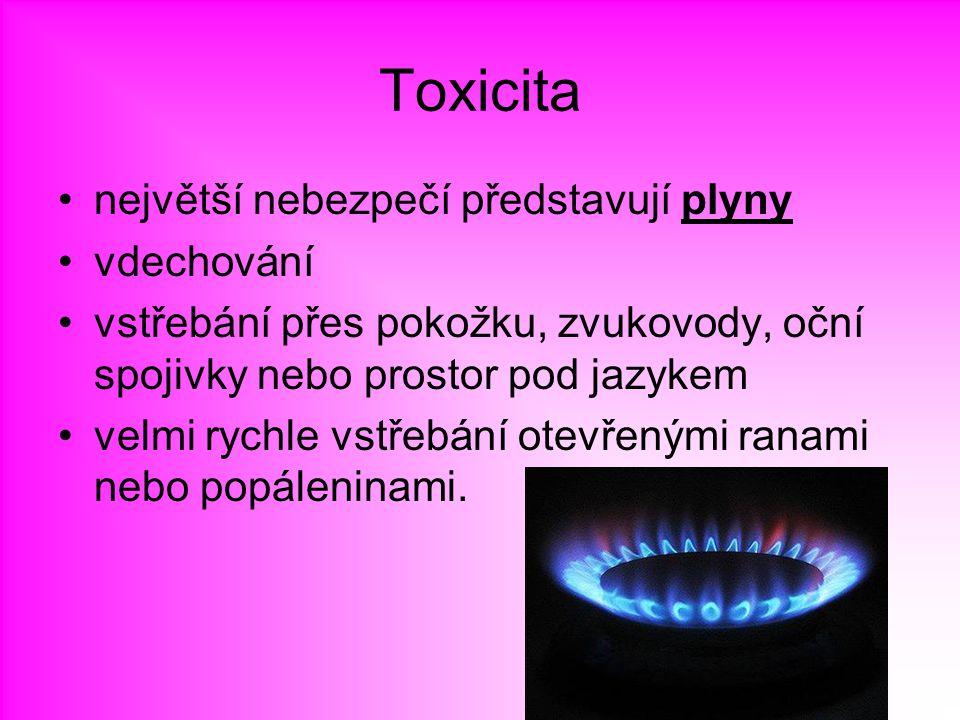 Toxicita největší nebezpečí představují plyny vdechování vstřebání přes pokožku, zvukovody, oční spojivky nebo prostor pod jazykem velmi rychle vstřeb