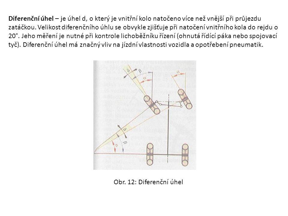 Diferenční úhel – je úhel d, o který je vnitřní kolo natočeno více než vnější při průjezdu zatáčkou. Velikost diferenčního úhlu se obvykle zjišťuje př