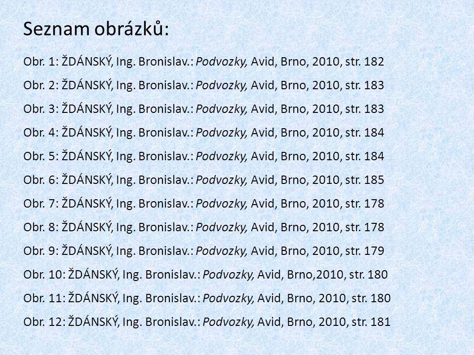 Seznam obrázků: Obr. 1: ŽDÁNSKÝ, Ing. Bronislav.: Podvozky, Avid, Brno, 2010, str. 182 Obr. 2: ŽDÁNSKÝ, Ing. Bronislav.: Podvozky, Avid, Brno, 2010, s