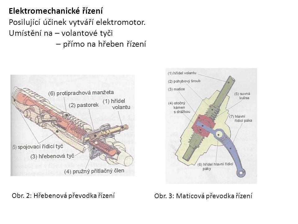 Elektromechanické řízení Posilující účinek vytváří elektromotor. Umístění na – volantové tyči – přímo na hřeben řízení Obr. 2: Hřebenová převodka říze