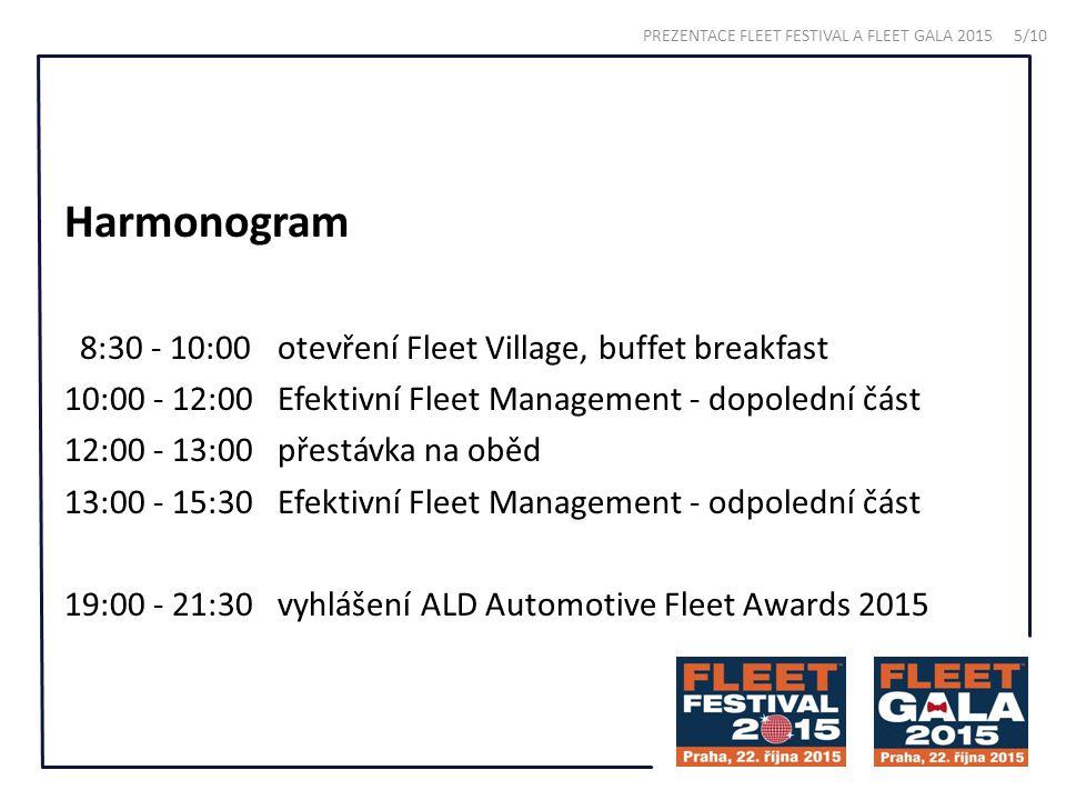 Harmonogram 8:30 - 10:00otevření Fleet Village, buffet breakfast 10:00 - 12:00Efektivní Fleet Management - dopolední část 12:00 - 13:00přestávka na oběd 13:00 - 15:30Efektivní Fleet Management - odpolední část 19:00 - 21:30vyhlášení ALD Automotive Fleet Awards 2015 PREZENTACE FLEET FESTIVAL A FLEET GALA 2015 5/10
