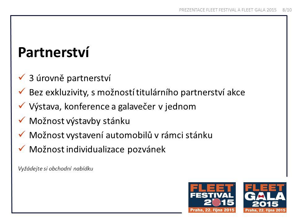 Partnerství 3 úrovně partnerství Bez exkluzivity, s možností titulárního partnerství akce Výstava, konference a galavečer v jednom Možnost výstavby stánku Možnost vystavení automobilů v rámci stánku Možnost individualizace pozvánek Vyžádejte si obchodní nabídku PREZENTACE FLEET FESTIVAL A FLEET GALA 2015 8/10