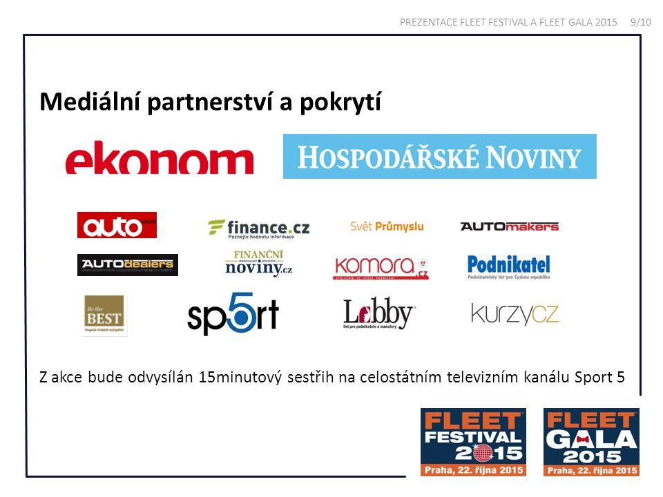 Mediální partnerství a pokrytí Z akce bude odvysílán 15minutový sestřih na celostátním televizním kanálu Sport 5 PREZENTACE FLEET FESTIVAL A FLEET GAL