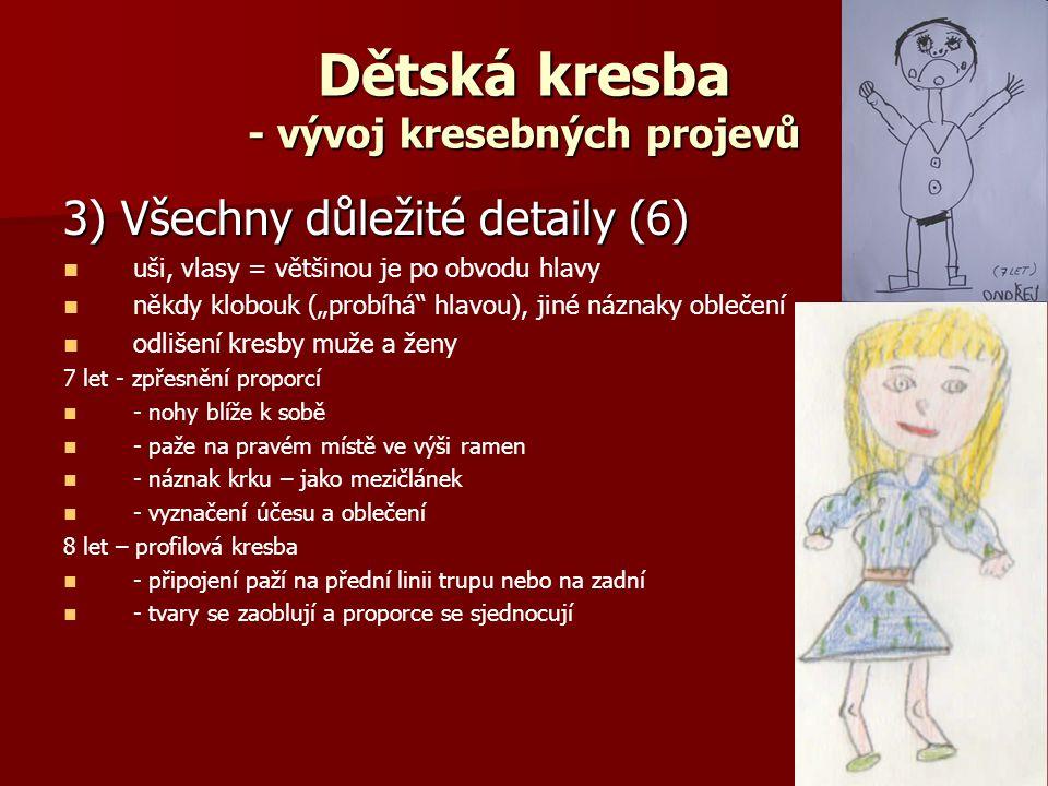 """Dětská kresba - vývoj kresebných projevů 3) Všechny důležité detaily (6) uši, vlasy = většinou je po obvodu hlavy někdy klobouk (""""probíhá hlavou), jiné náznaky oblečení odlišení kresby muže a ženy 7 let - zpřesnění proporcí - nohy blíže k sobě - paže na pravém místě ve výši ramen - náznak krku – jako mezičlánek - vyznačení účesu a oblečení 8 let – profilová kresba - připojení paží na přední linii trupu nebo na zadní - tvary se zaoblují a proporce se sjednocují"""