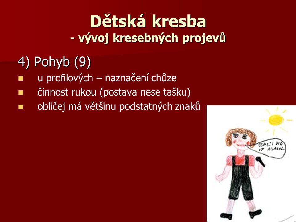 Dětská kresba - vývoj kresebných projevů 4) Pohyb (9) u profilových – naznačení chůze činnost rukou (postava nese tašku) obličej má většinu podstatných znaků