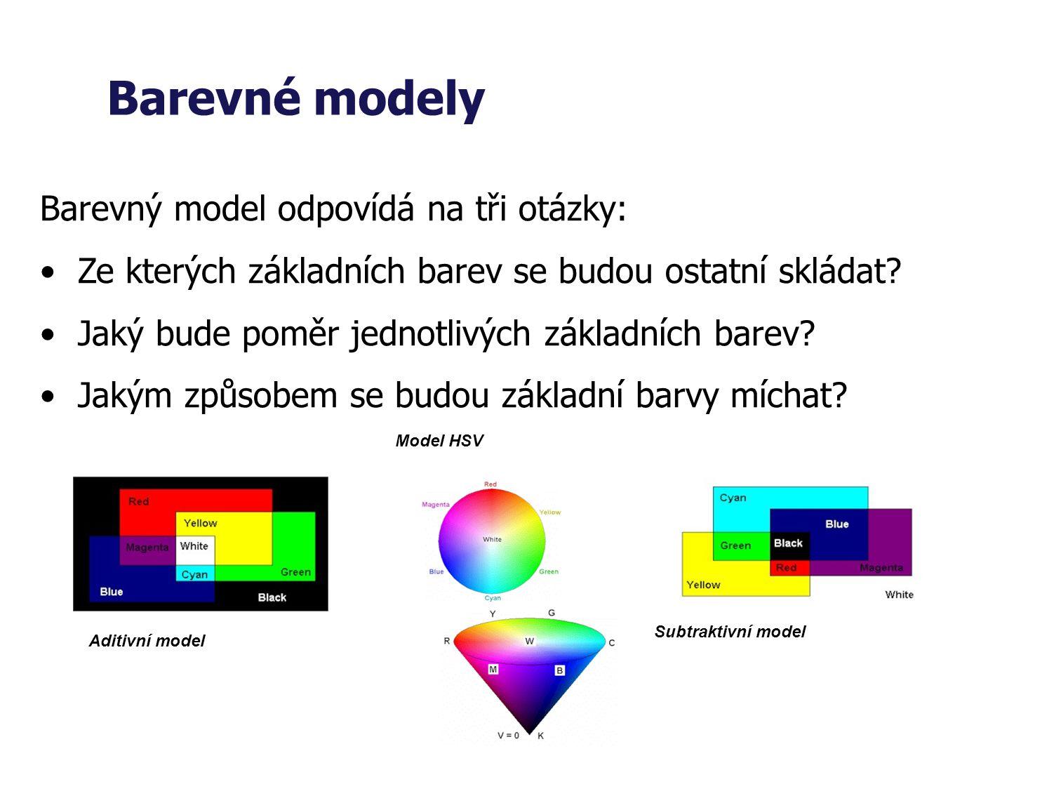 Barevné modely Barevný model odpovídá na tři otázky: Ze kterých základních barev se budou ostatní skládat.