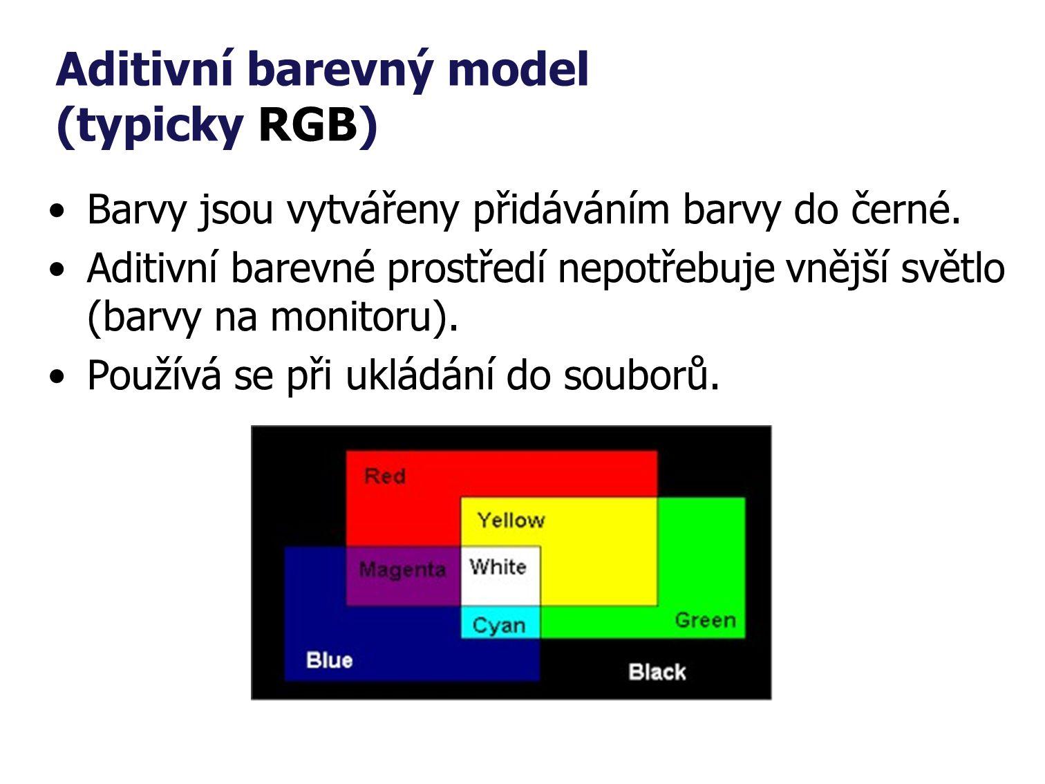 Aditivní barevný model (typicky RGB) Barvy jsou vytvářeny přidáváním barvy do černé.