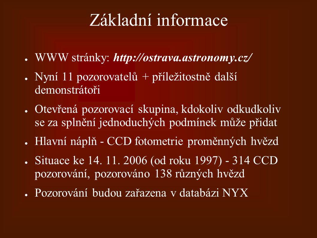 Základní informace ● WWW stránky: http://ostrava.astronomy.cz/ ● Nyní 11 pozorovatelů + příležitostně další demonstrátoři ● Otevřená pozorovací skupin