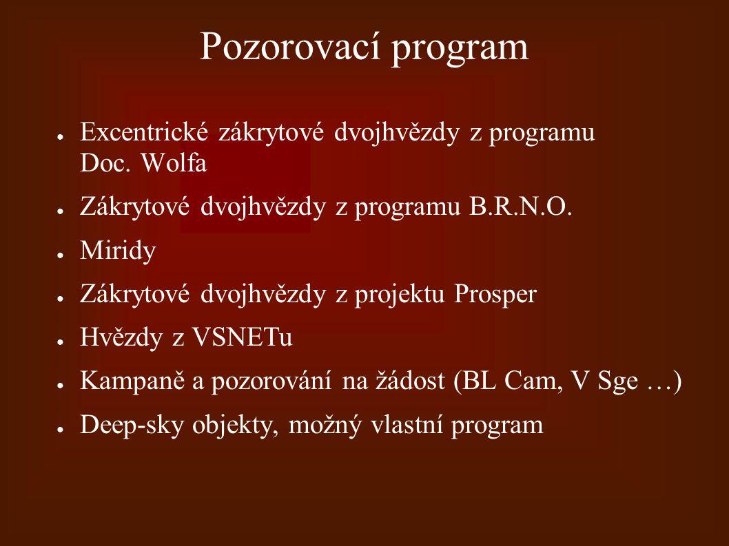 Pozorovací program ● Excentrické zákrytové dvojhvězdy z programu Doc. Wolfa ● Zákrytové dvojhvězdy z programu B.R.N.O. ● Miridy ● Zákrytové dvojhvězdy